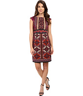 London Times - Heraldic Scroll Cap Sleeve Sheath Dress