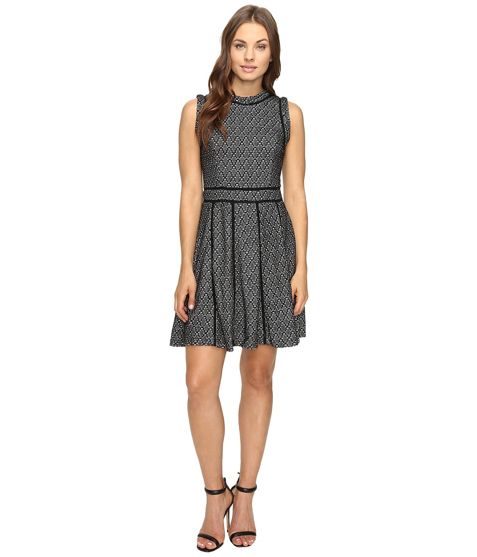 Image of Adelyn Rae - Fit and Flare Dress with Black Trim (Black/Ivory) Women's Dress