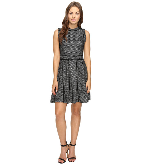 Adelyn Rae Fit and Flare Dress with Black Trim