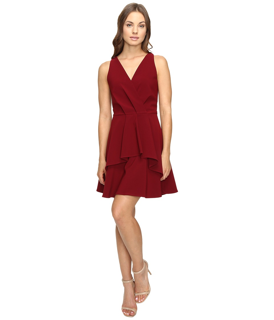Image of Adelyn Rae - Fit and Flare Dress with Front Ruffle (Bordeaux) Women's Dress