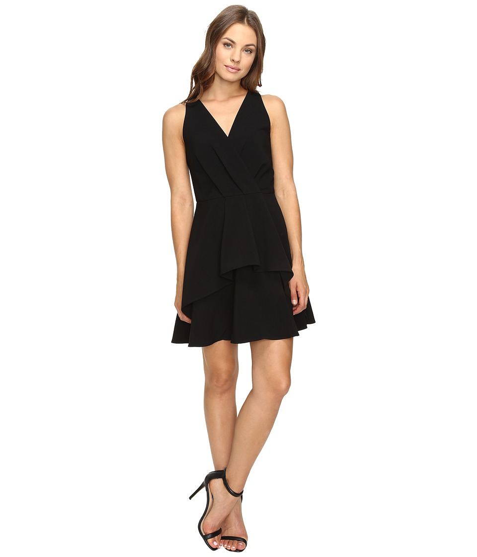 Image of Adelyn Rae - Fit and Flare Dress with Front Ruffle (Black) Women's Dress
