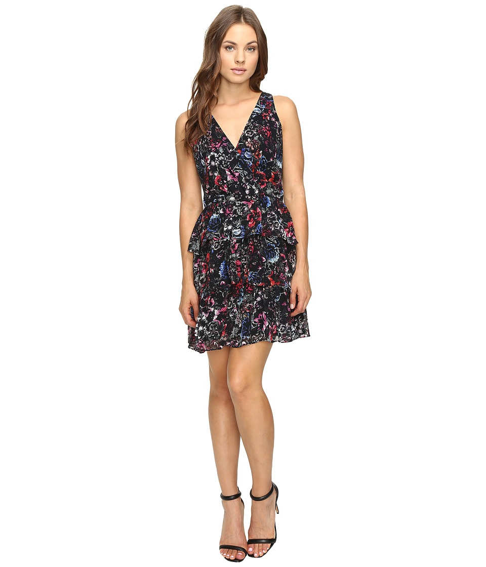 Adelyn Rae Printed Ruffle Fit and Flare Dress (Black Multi) Women