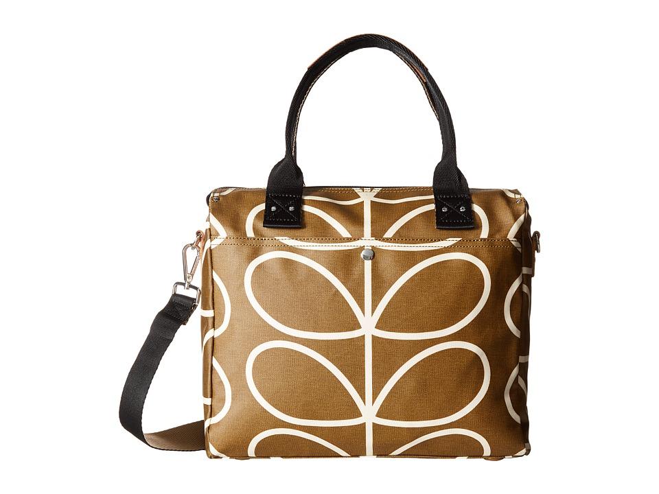 Orla Kiely - Matt Laminated Giant Linear Stem Print Zip Messenger (Camel) Messenger Bags