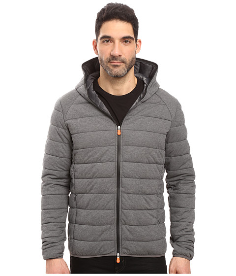 Save the Duck Hooded Stretch Puffer Jacket - Opal Grey Melange