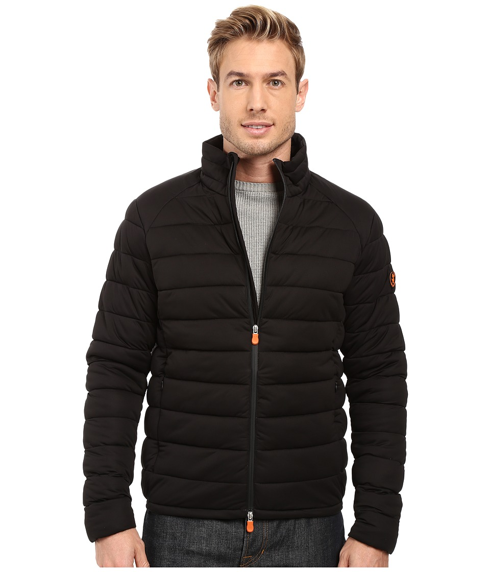 Save the Duck - Solid Stretch Puffer Jacket (Black) Mens Coat