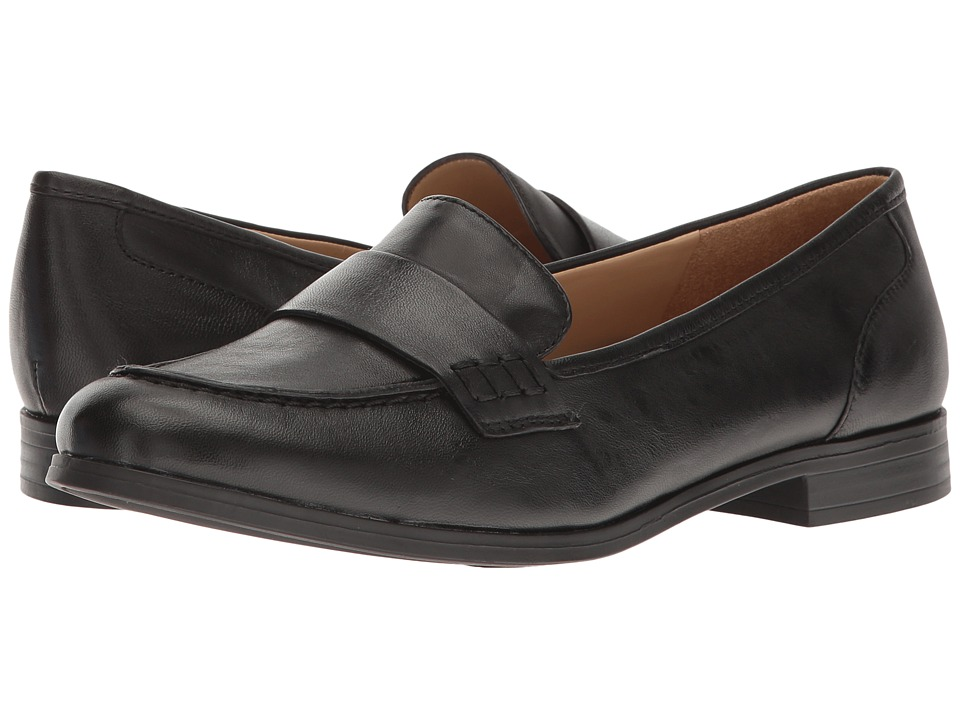 Retro Vintage Flats and Low Heel Shoes Naturalizer - Veronica Black Leather Womens Slip on  Shoes $88.95 AT vintagedancer.com