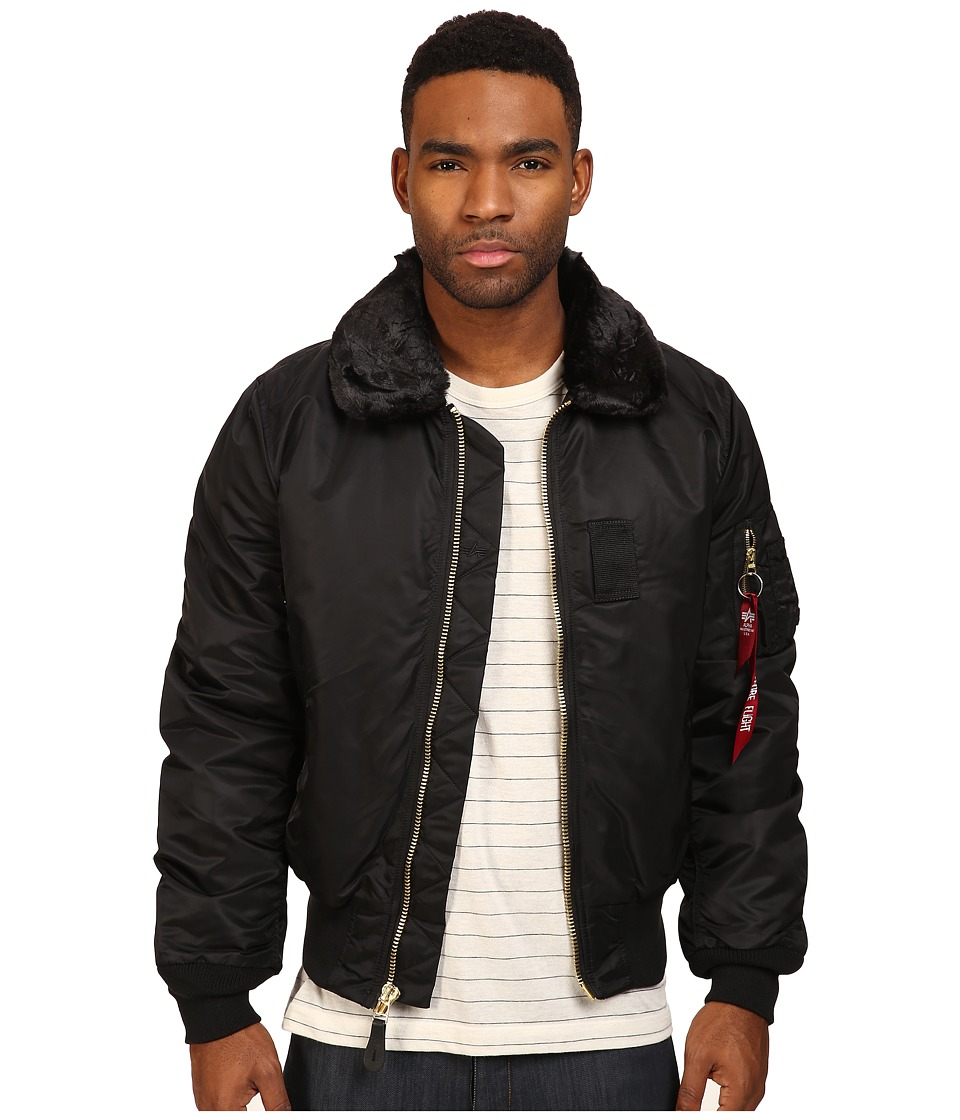 Alpha Industries - B-15 Flight Jacket Slim Fit (Black) Mens Coat