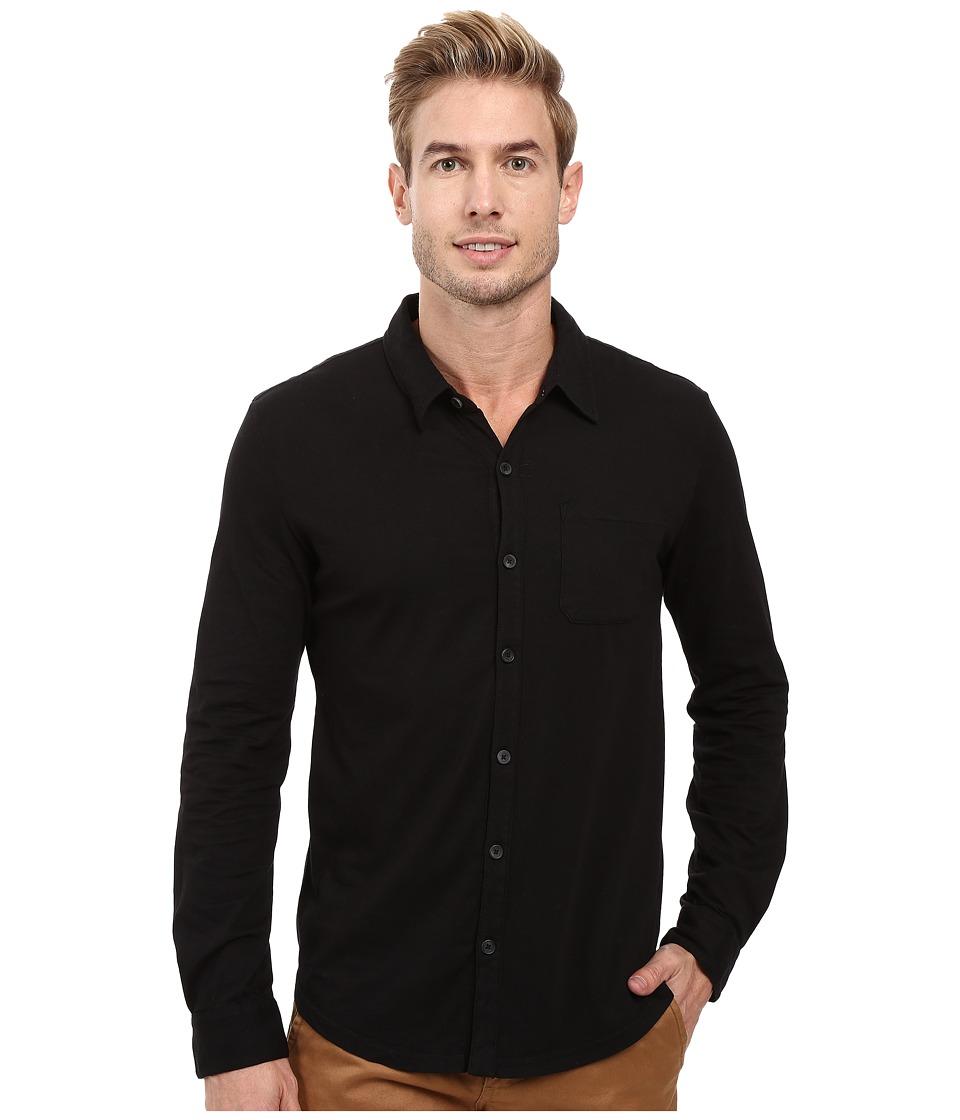 Mod-o-doc - Summerland Knit Long Sleeve Jersey Button Front Shirt (Black) Mens Long Sleeve Button Up