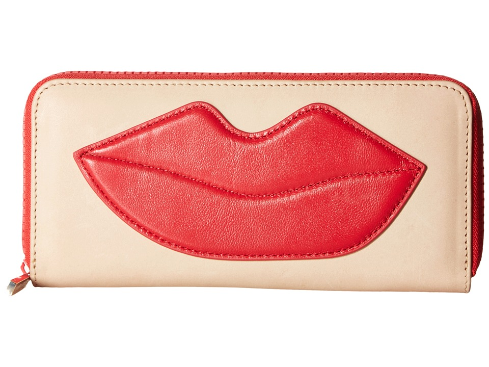 Alice + Olivia - Long Wallet with Lip (Natural/Red) Wallet Handbags