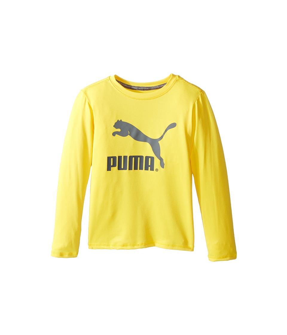 Puma Kids No.1 Long Sleeve Logo Tee (Little Kids) (Cyber Yellow) Boy