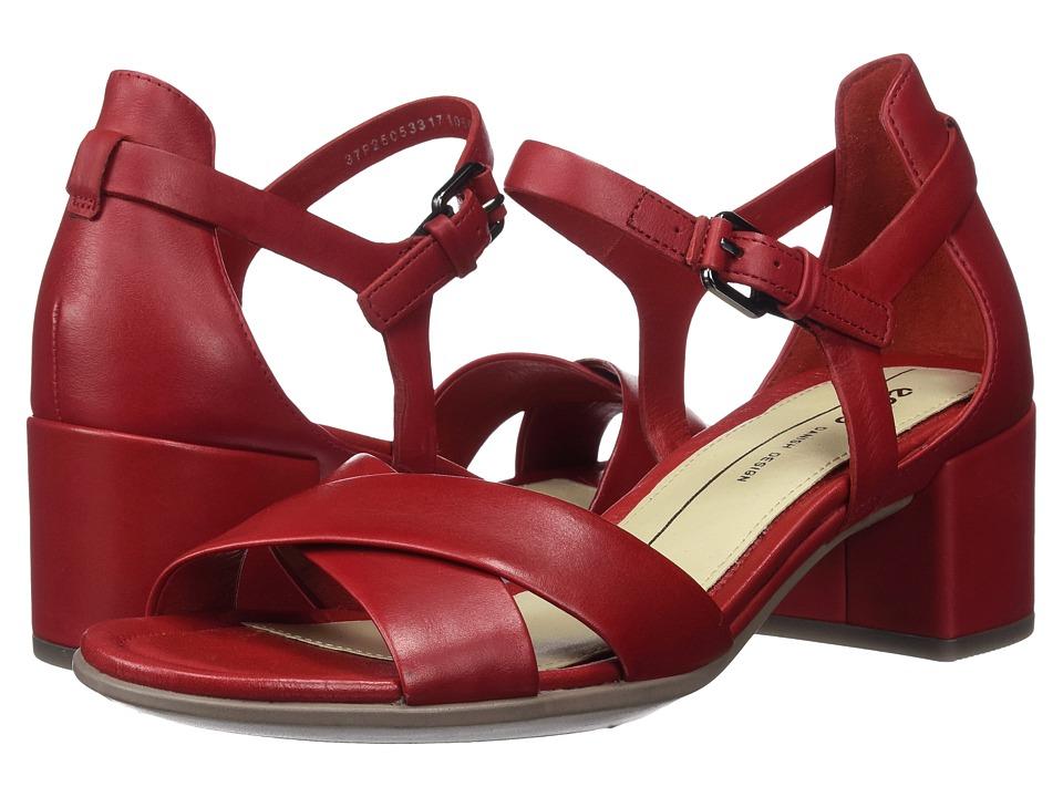 ECCO Shape 35 Block Sandal (Chili Red Calf Leather) Women