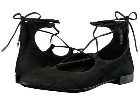 ECCO Shape Tie Up Ballerina - Black Calf Nubuck