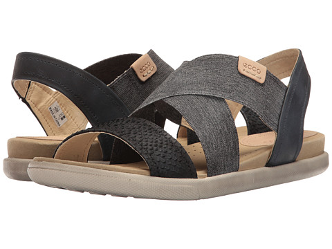 ECCO Damara 2-Strap Sandal - Black/Black/Powder Cow Nubuck