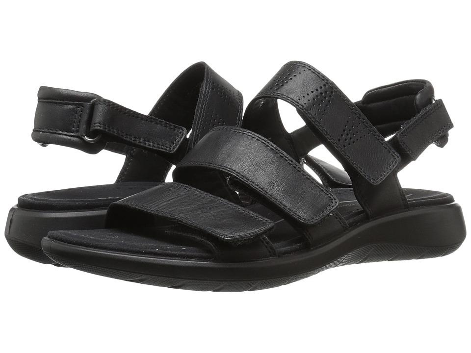 ECCO - Soft 5 3-Strap Sandal (Black Cow Leather/Cow Nubuck) Women's Sandals