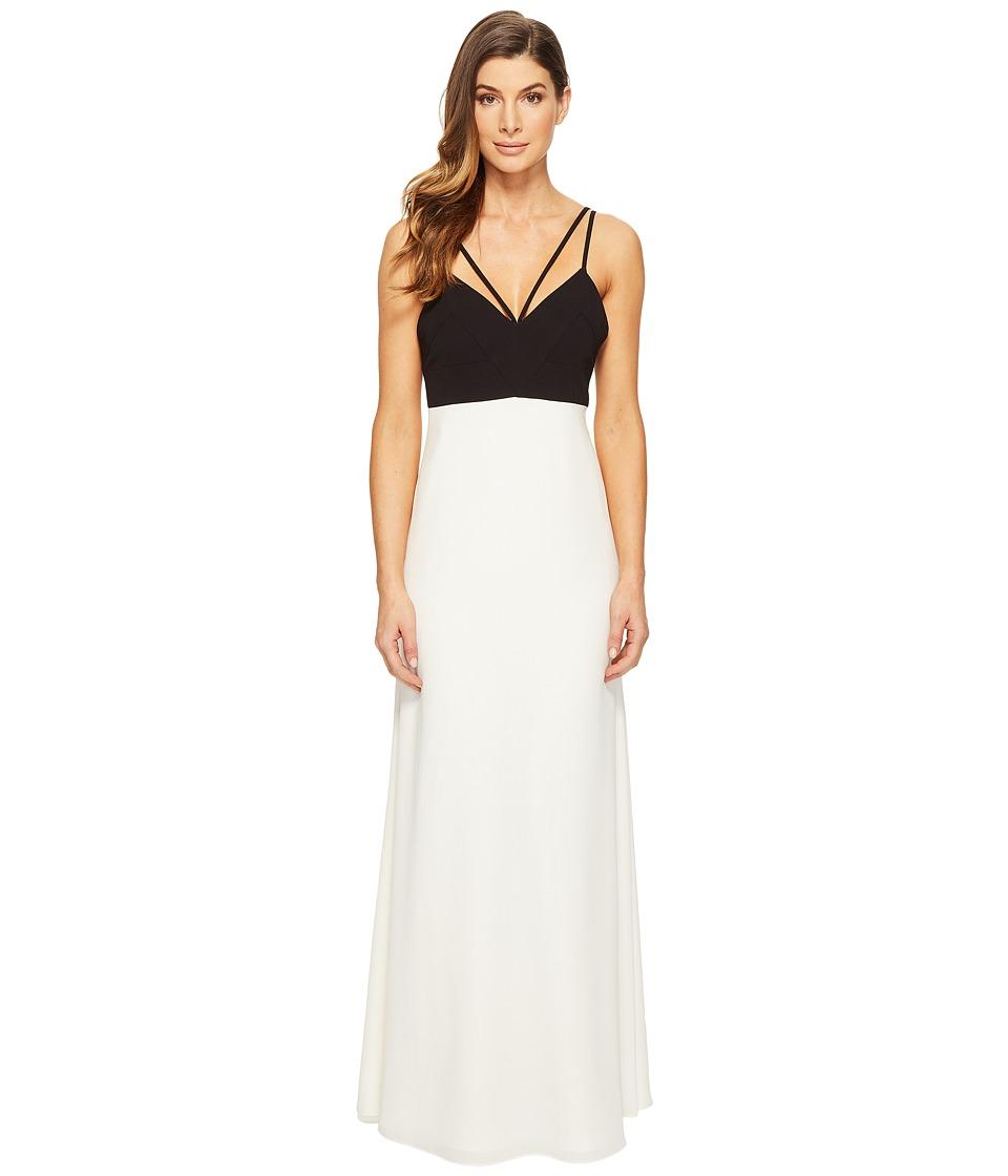 JILL JILL STUART Strappy Two-Tone Gown (Black/Off-White) Women