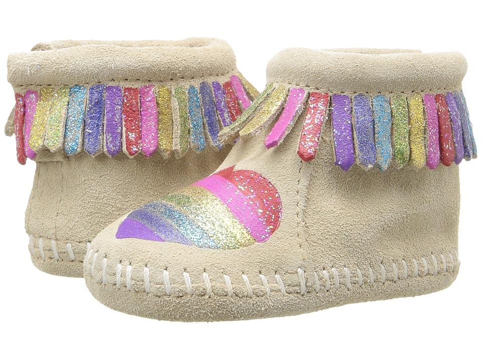 Minnetonka Kids - Free Range Mama Love One Another (Infant) (Stone) Girls Shoes