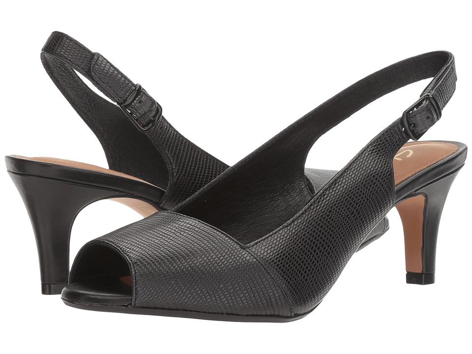 Clarks Heavenly Leah (Black Lizard Leather) Women