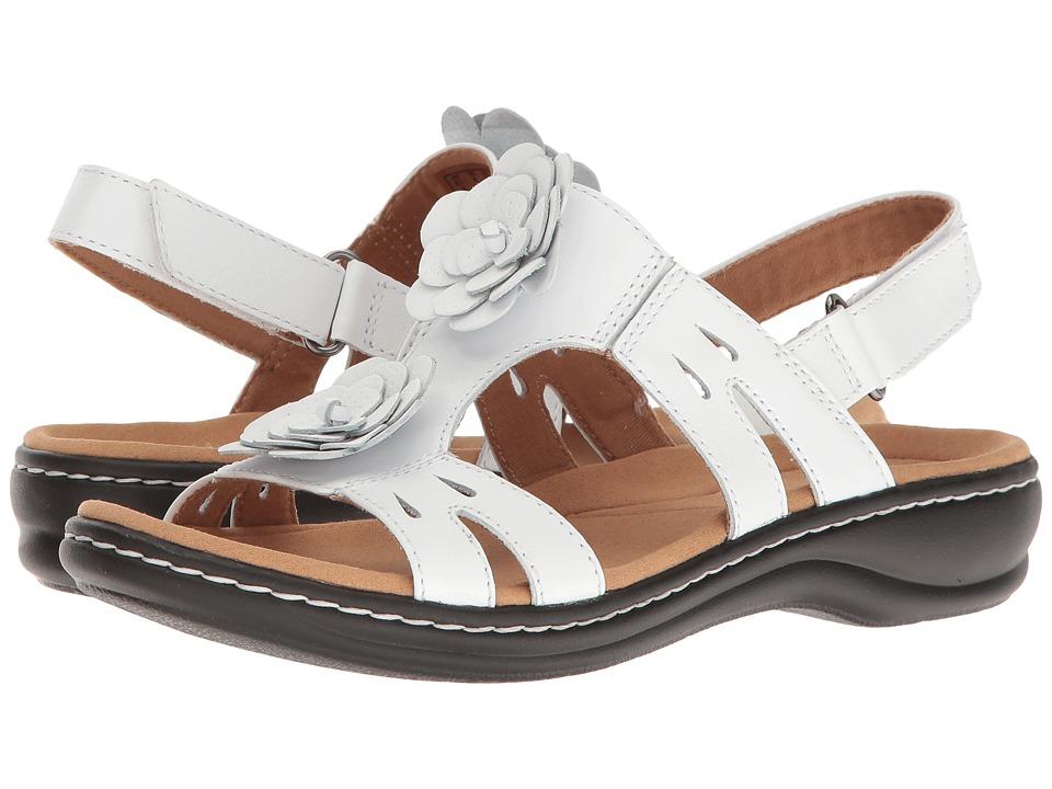 Clarks Leisa Claytin (White Leather) Sandals