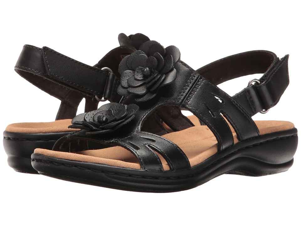 Clarks Leisa Claytin (Black Leather) Sandals