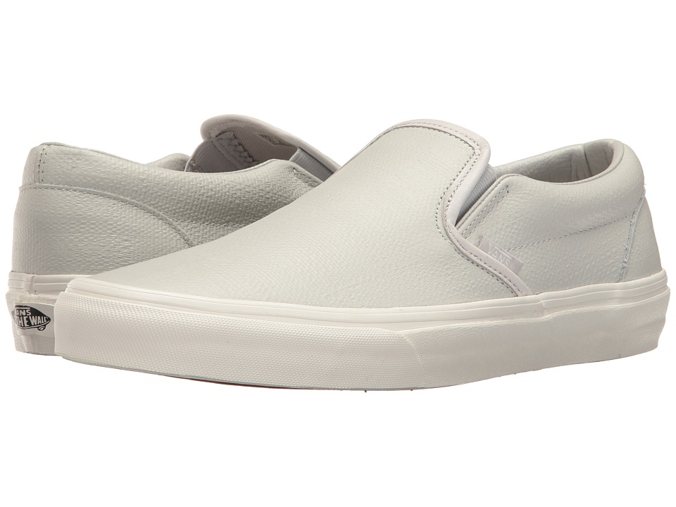 Vans Classic Slip-On ((Embossed Leather) Glacier Gray/Blanc de Blanc) Skate Shoes