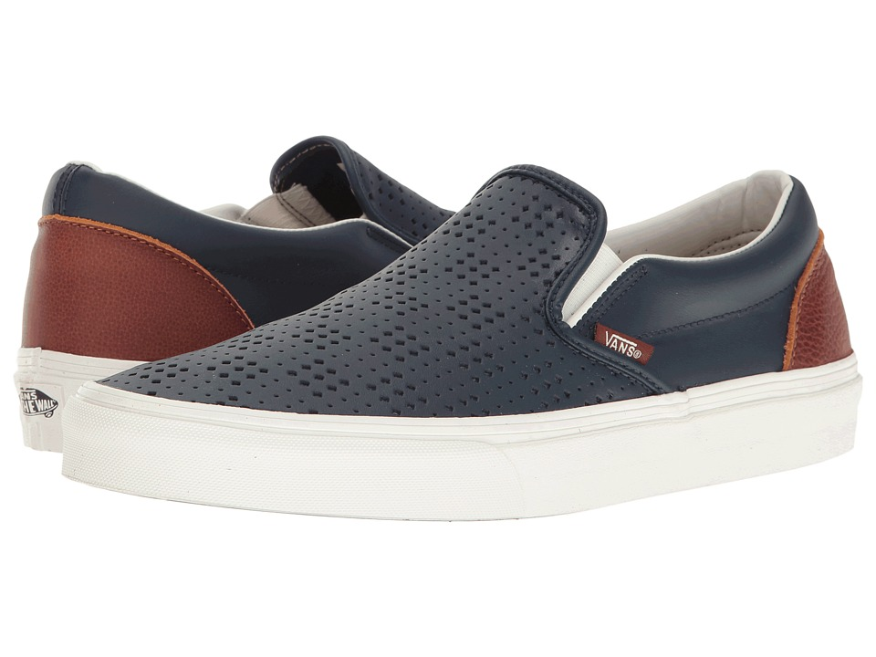 Vans - Classic Slip-On ((Leather Perf) Dress Blues/Friar Brown) Skate Shoes