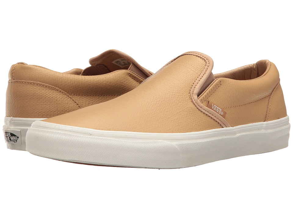 Vans Classic Slip-On ((Embossed Leather) Tan/Blanc de Blanc) Skate Shoes