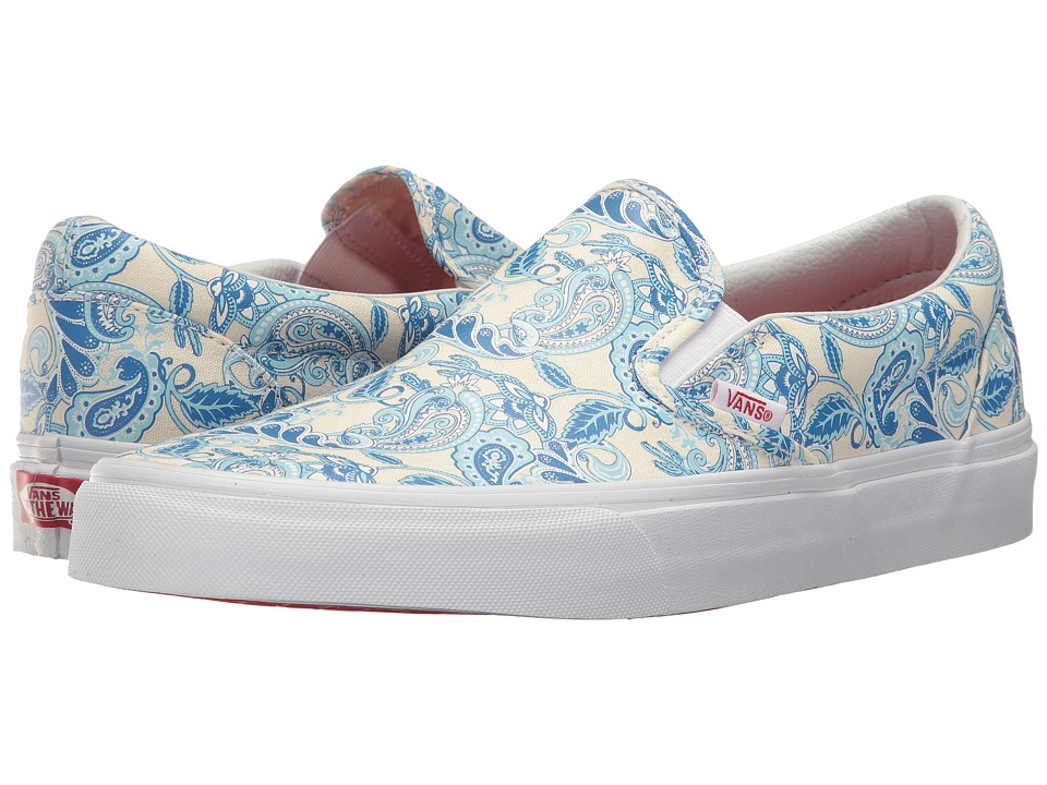 Vans Classic Slip-On ((Paisley Americana) True White/French Blue) Skate Shoes