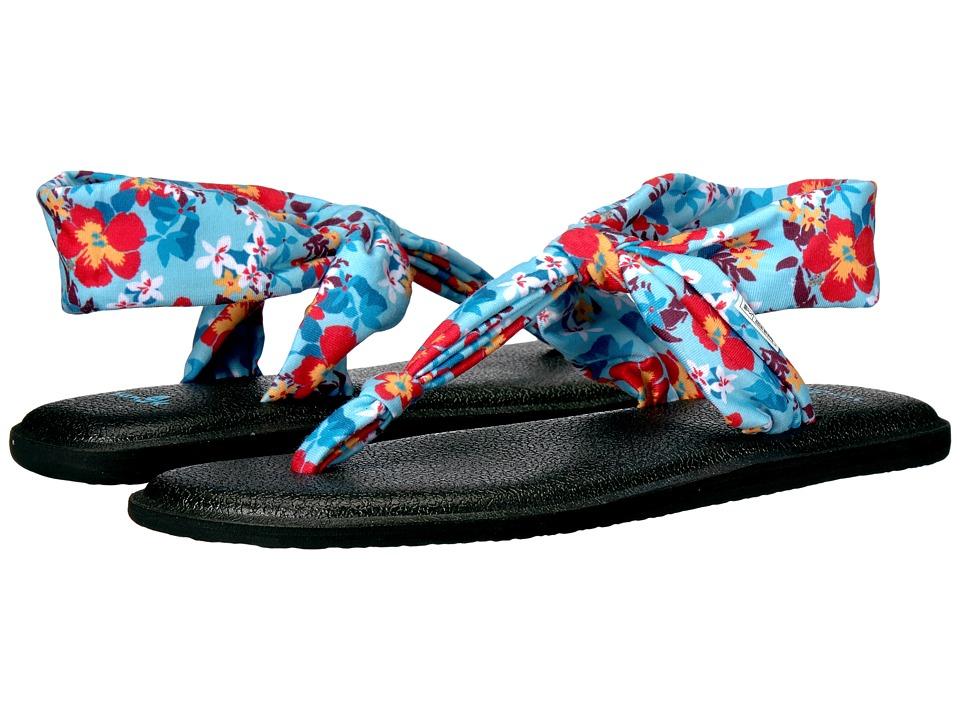 Sanuk Yoga Sling Ella Prints (Aqua Waikiki Floral) Women