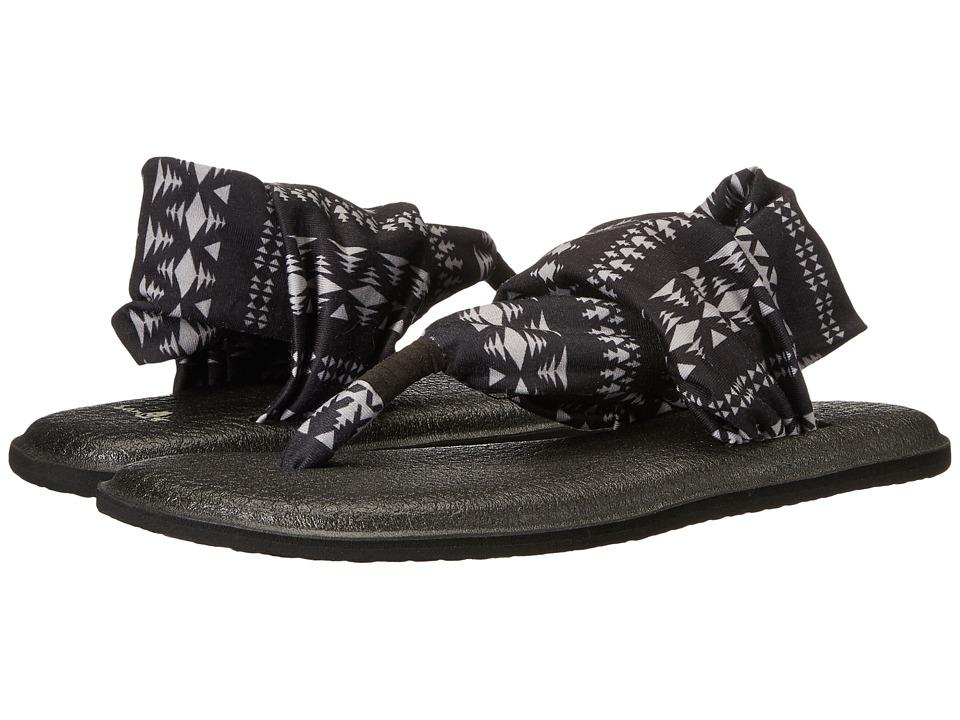 Sanuk Yoga Sling 2 Prints (Black/Natural Koa Tribal) Sandals