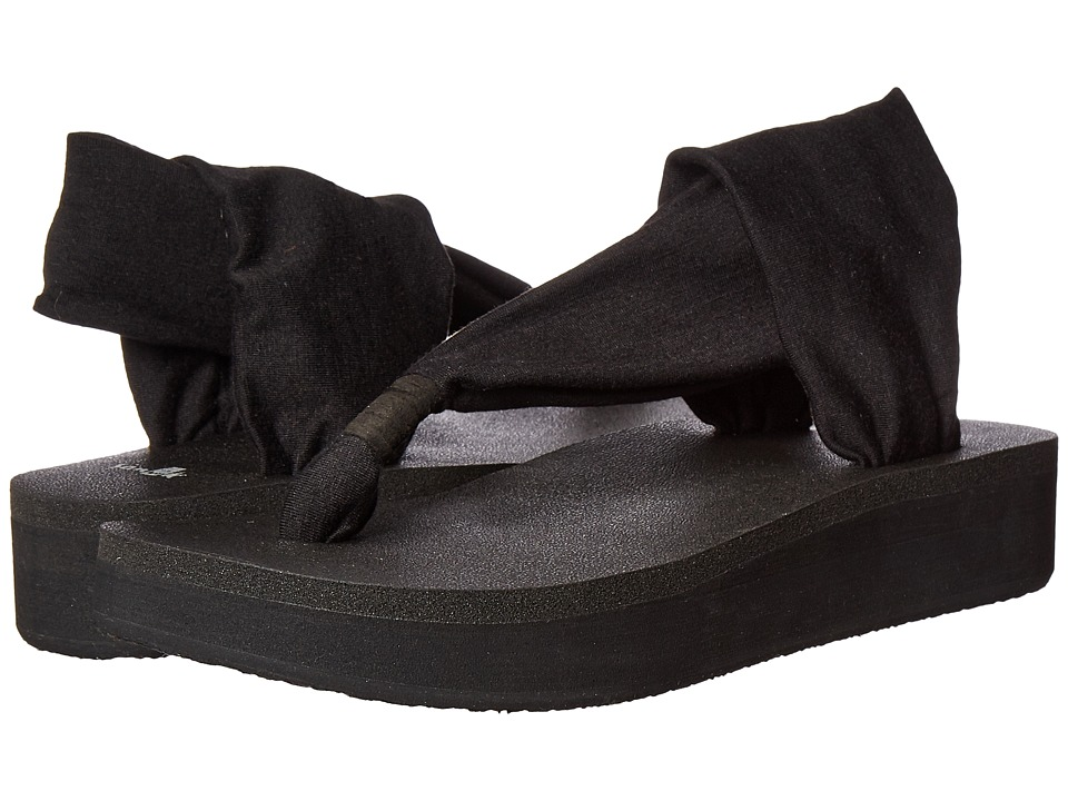 Sanuk - Yoga Sling Wedge (Black) Women's Sandals