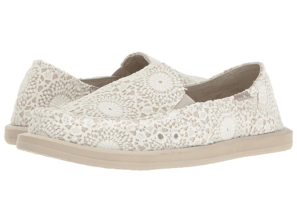Sanuk Donna Crochet (White/Oatmeal) Women's Slip on  Shoes