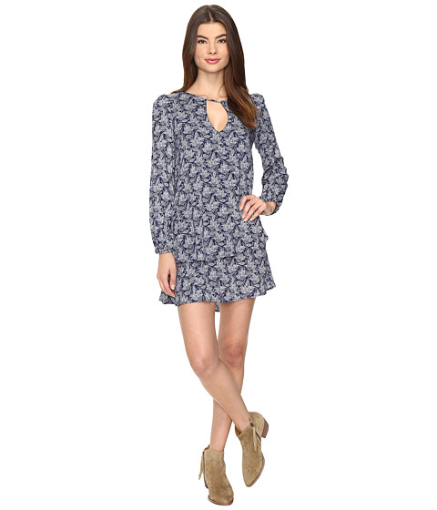 Brigitte Bailey Dariya Long Sleeve Keyhole Dress - Navy/White