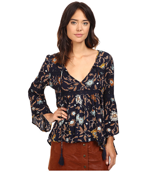 Brigitte Bailey Aisha Printed Bell Sleeve Top with Crochet Detail