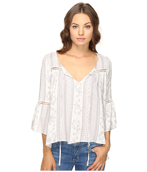 Brigitte Bailey Ebba Bell Sleeve Top with Lace Inset
