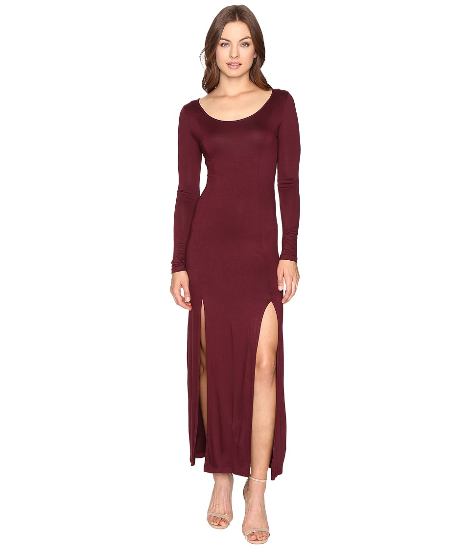 Culture Phit Gali Long Sleeve Maxi Dress with Slits (Wine) Women
