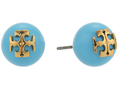 Tory Burch Crystal Pearl Stud Earrings - Turquoise/Shiny Gold
