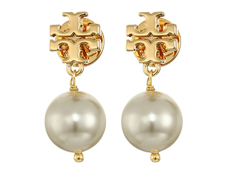 Tory Burch Crystal Pearl Drop Earrings - Ivory/Shiny Gold