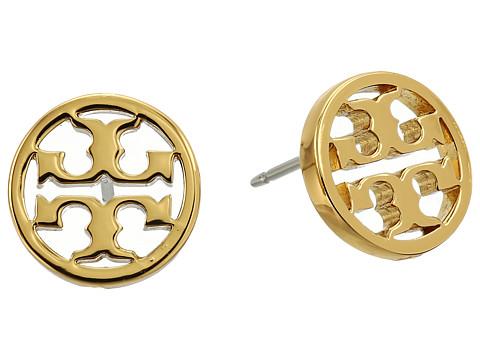 Tory Burch Logo Circle-Stud Earrings - Shiny Gold