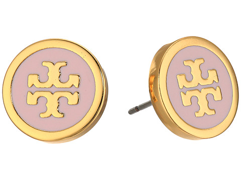 Tory Burch Lacquered Logo Studs Earrings - Pink Blossom/Tory Gold