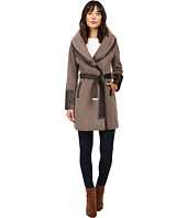 Via Spiga - Chic Wrap Coat with Contrast PU Detail and Belt