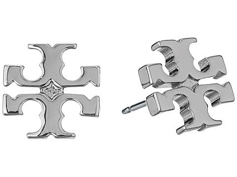 Tory Burch Logo Stud Earrings - Tory Silver