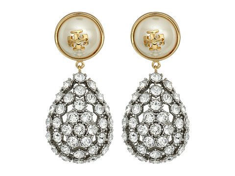 Tory Burch Crystal Pearl Statement Earrings - Ivory/Tory Gold
