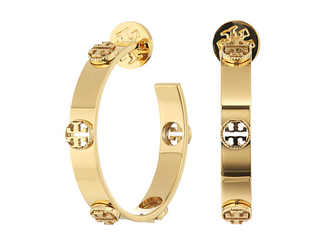 Tory Burch Milgrain Logo Hoop Earrings - Tory Gold