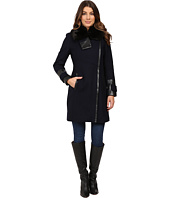 Via Spiga - Asymmetrical Coat w/ Zip Front and Faux Fur Collar