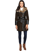 Via Spiga - Asymmetrical Faux Fur Belted Coat w/ PU Detail