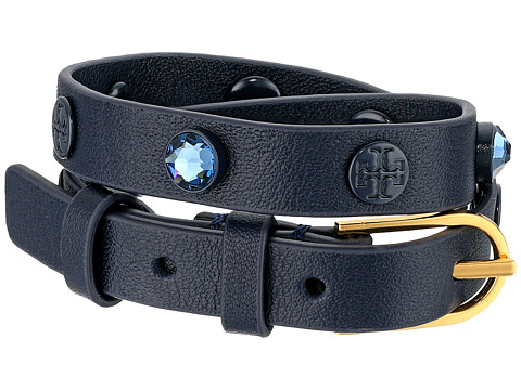 Tory Burch Crystal Beaded Double Wrap Bracelet - Tory Navy/Tory Gold
