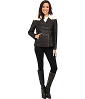 Via Spiga - Asymmetrical Croc Like Quilted Bomber with Removable Luxe Faux Fur Collar
