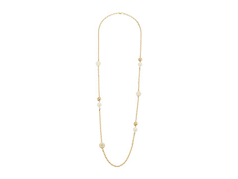 Tory Burch Lacquered Logo Rosary Necklace - New Ivory/Tory Gold