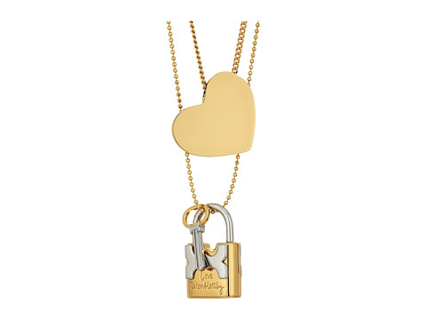 Tory Burch Metal Heart and Padlock Necklace Set - Tory Gold/Tory Silver