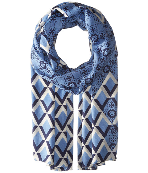TORY BURCH Logo Mosaic And Signature Print Oblong in Blue